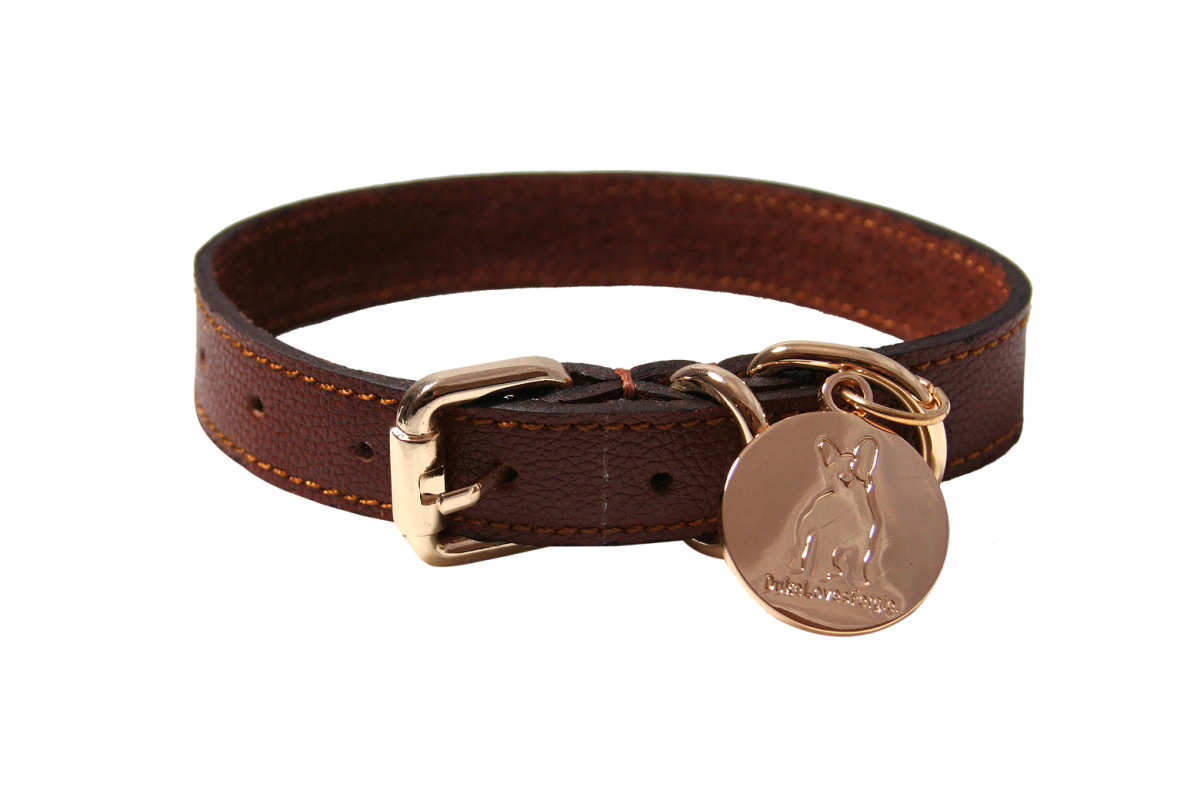 hand made tan leather dog collar | best luxury collars for cocker spaniels | www.perfectcockerspaniel.com