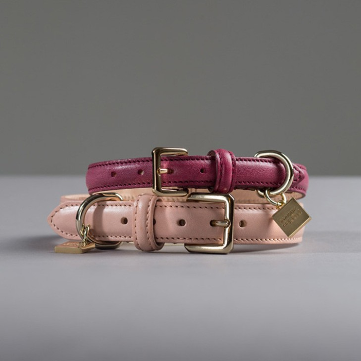 luxury-leather-dog-collars-strawberry-pink-rose-maison-lelou-valentines-presents-for-dogs
