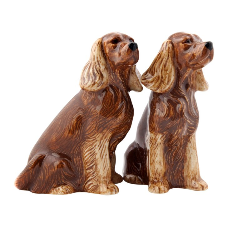 golden cocker spaniel salt and pepper set