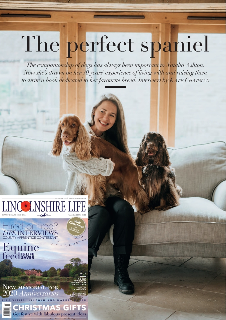 Natalia Ashton, Cooper and Fred story about Perfect cocker spaniel book and life by Kate Chapman / Lincolnshire Life November 2019 (C)