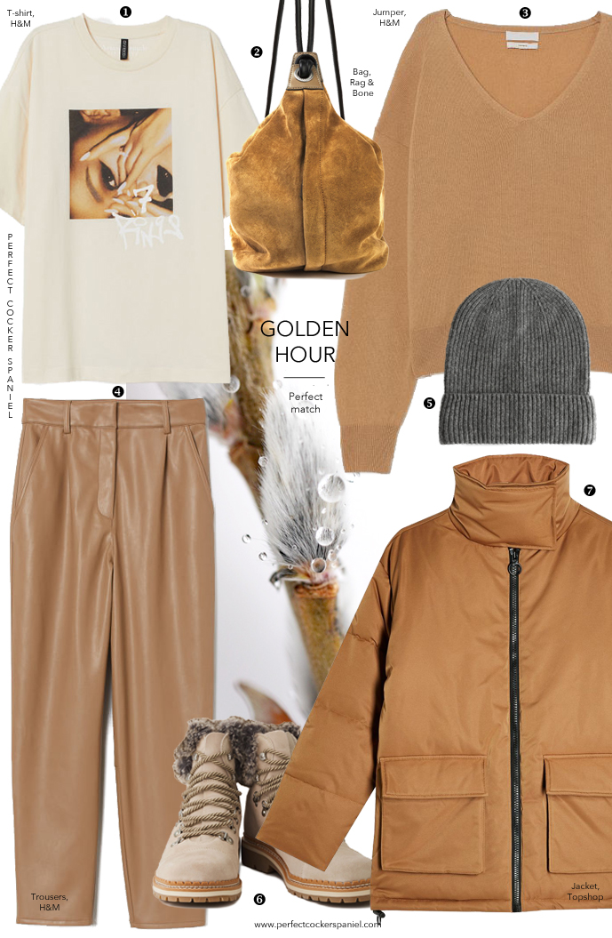 Style outfit ideas for dog walking in fashion / Spring edition / Camel outfit ideas / Cashmere jumper, leather trousers, puff jacket, suede leather bag / Perfect cocker spaniel / pet blog (C) Natalia Ashton