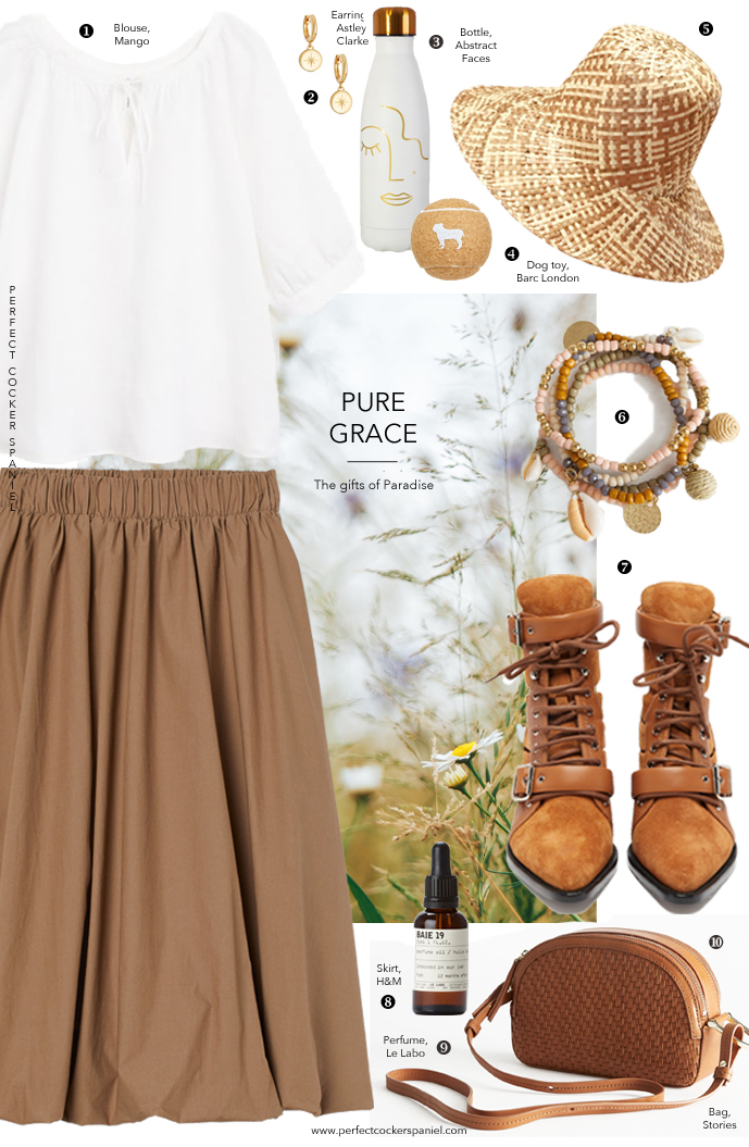 Summer outfit idea inspired by cocker spaniels, Virginia Woolf, Elizabeth Browning, Flush the cocker, natural materials, fabrics, floral trends / featuring H&M, Chloe, Mango, Stories, Le Labo, BArc London, Astley Clarke / how to walk dog in style / country outfit ideas / Perfect cocker spaniel (C)