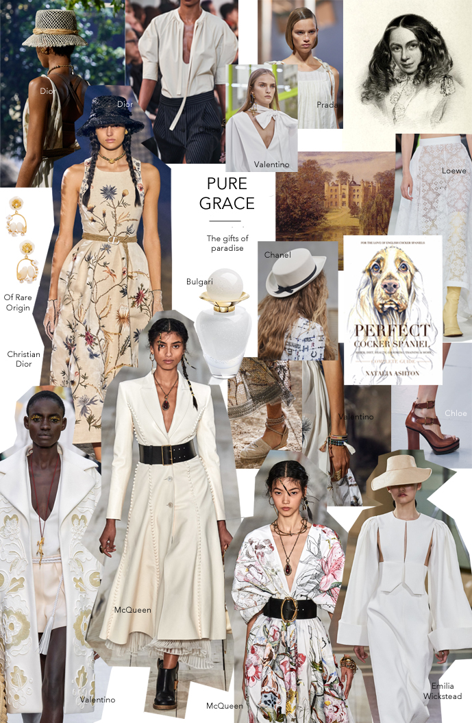 Summer style mood board inspired by nature love & flowers, raffia, straw, florals as seen at Dior, Prada, Valentino, McQueen, Chloe, Emilia Wickstead